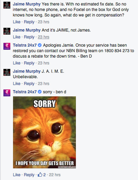 Puss in boots meme used by Telstra customer service
