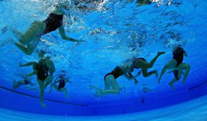 Underwater swimming in a pool
