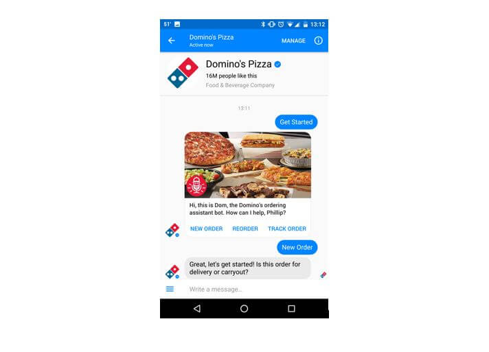 dominos facebook messenger