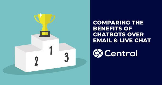 Comparing the benefits of chatbots over live chat and email