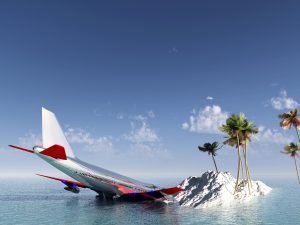 Plane crash on island