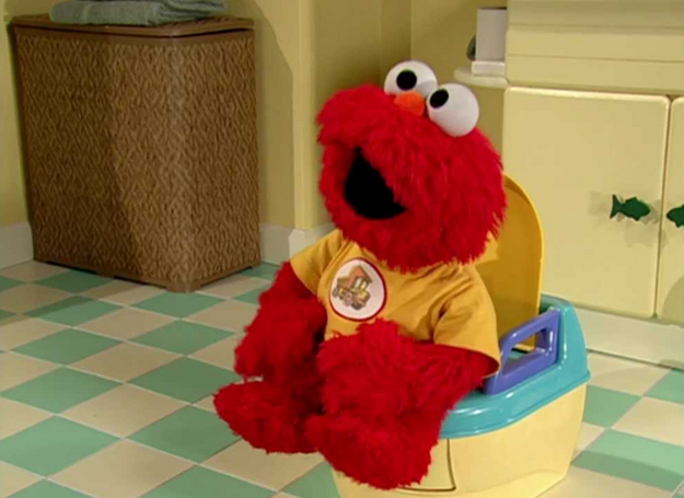 I look forward to my toilet breaks elmo