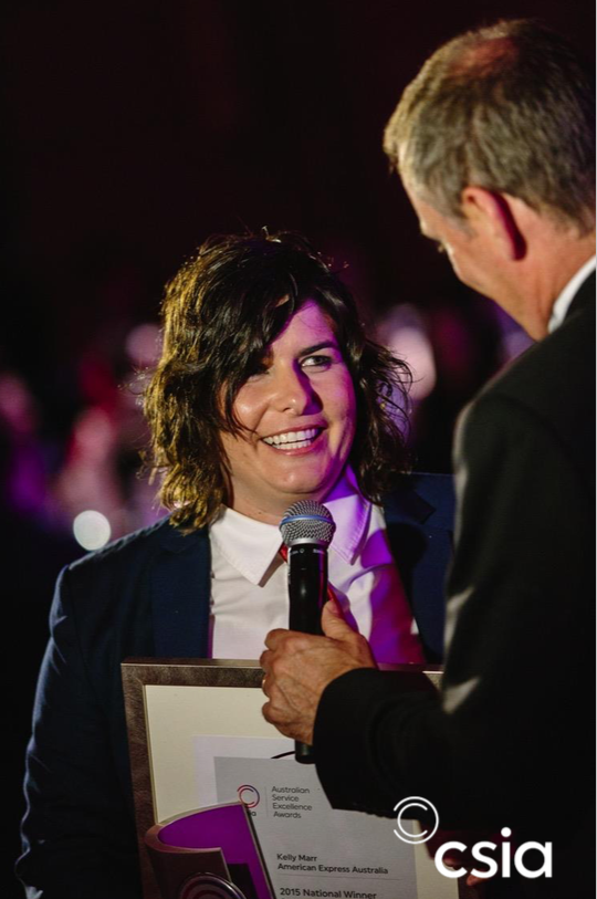 Kelly Marr accepting her award
