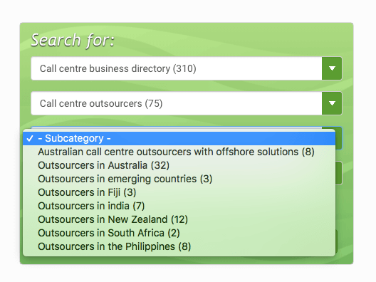 Drop down Directory options for call centre outsourcers