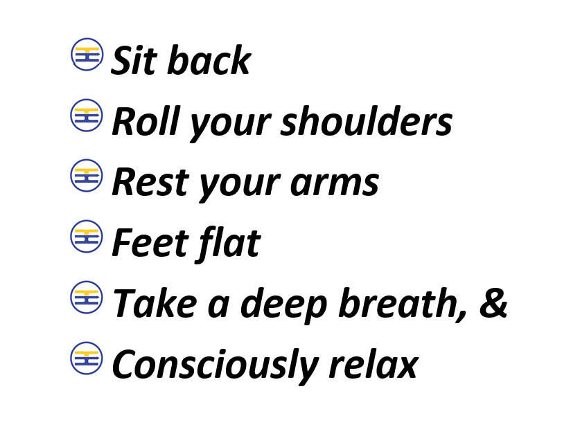 Roll-Reset-Relax-words for ergonomics training in the office