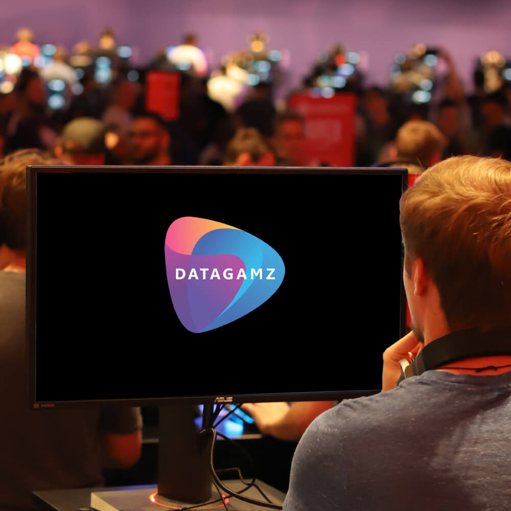 Datagamz logo on computer screen
