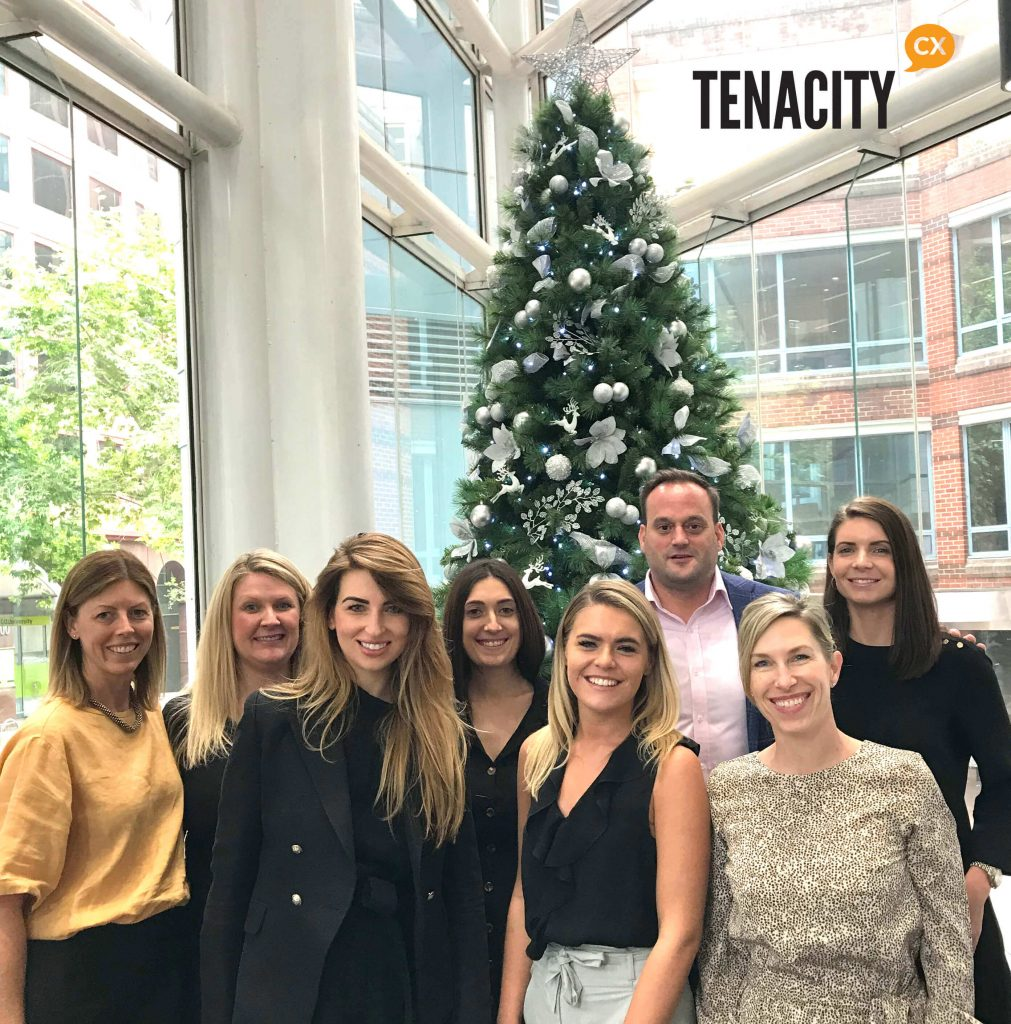 Tenacity CX 2019 Xmas team photo celebrating their 3rd birthday and new website launch