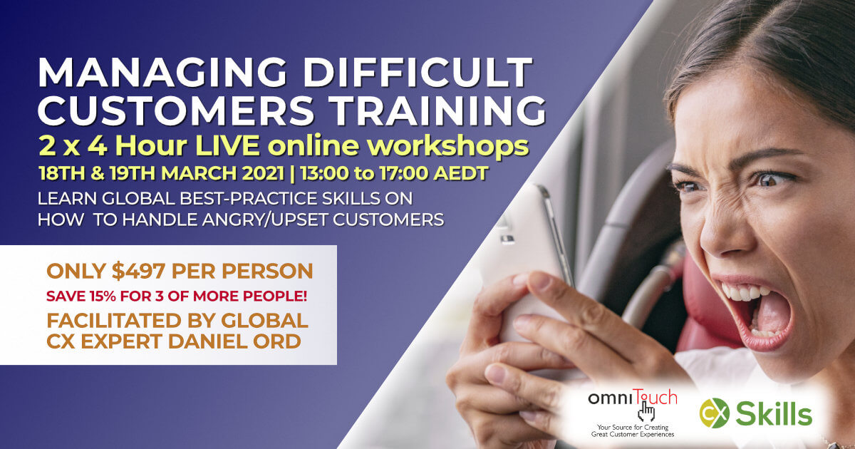 Managing Angry and Difficult Customers online course March 2021