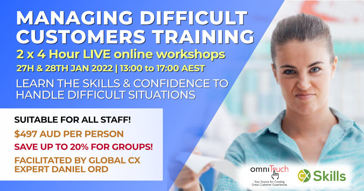 A promotion for the Managing Difficult Customers training course in January 2022 showing an angry customer.