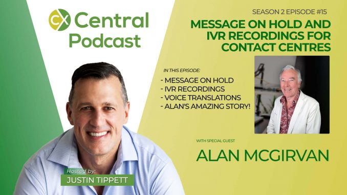 image of Justin Tippett and Alan McGirvan with the title Message on Hold and IVR Recordings for Contact Centres