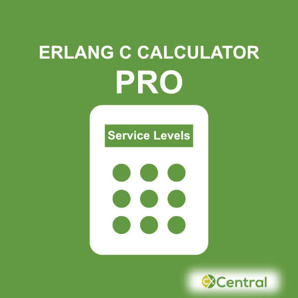 An image of a calculator with the words Erlang C Calculator Pro