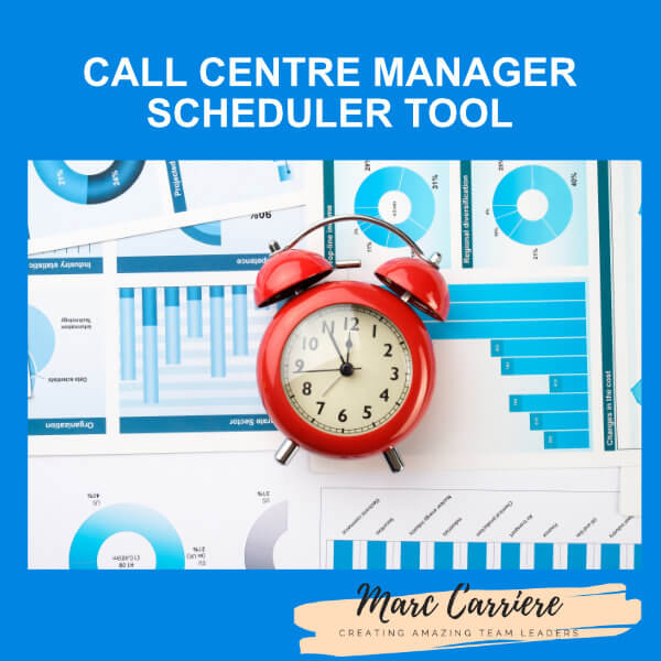 A picture of an alarm clock with the text Call Centre Manager Scheduler Tool