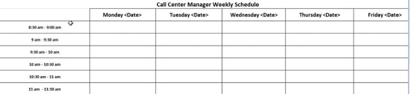 An example of the Call Centre Manager Scheduler Tool Schedule in Excel
