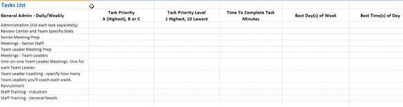 An example of the Call Centre Manager Scheduler Tool Tasks in Excel