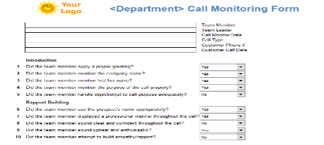 An example of a call monitoring and scoring form