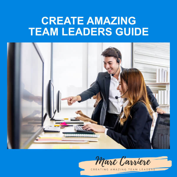 A picture of a call centre manager coaching an agent with the words Create Amazing Team Leaders Guide