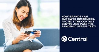 A female customer holding a phone and credit card with the title How brands can empower customers, protect contact centres and pass the pandemic stress test