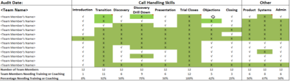 An example of a skills audit form used in a call centre